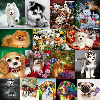 DIY 5D Dog Diamond Sticker Rhinestone Cross Stitch Painting Home Decor Animal