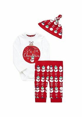 Boys My First Christmas Baby Outfit 3 piece set hat legging Bodysuit 0-18 Months