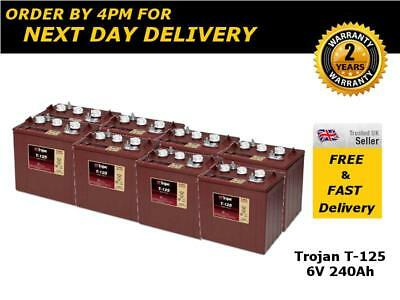 8x Trojan T125 Deep Cycle Solar Batteries 6V 240Ah - 2 Years Warranty