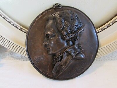 Antique French large medallion in relief signed and dated 1831