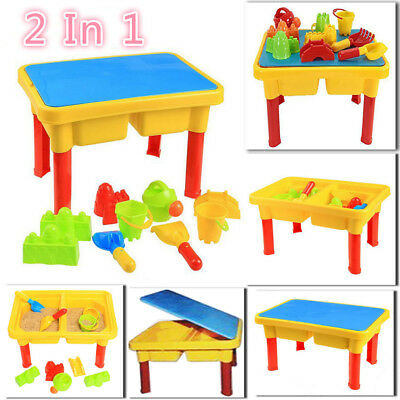 Garden Sand and Water Table Sandpit Play Set Watering Can Spade Bucket Toys