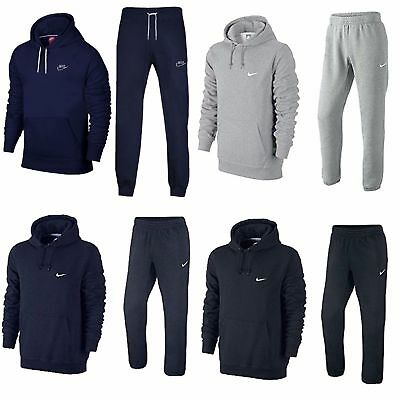 New Nike Mens Foundation Hooded Full Tracksuit Joggers And Hoodie S - XL