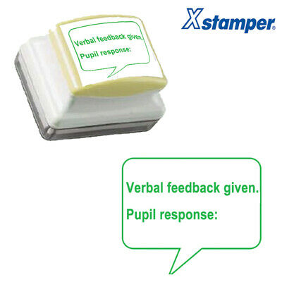 Verbal feedback given. Pupil response: Self-inking Teacher Stamp. 31x26mm. Green
