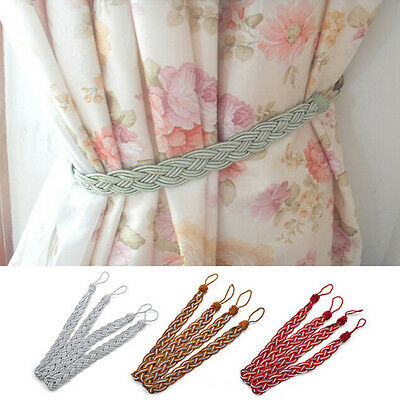2x Vintage Window Curtain Rope Tassel Fringe Tiebacks Tie Backs Home Decor 2018