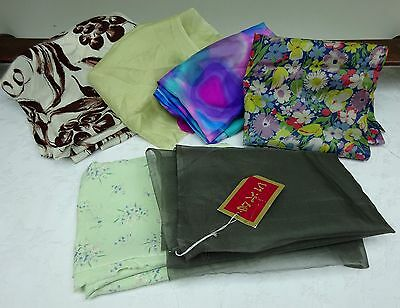 Mid Century Vintage Silk Fabric Dress Making Crafts Sewing Material Bundle 50's