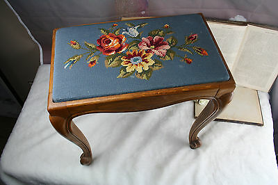 Victorian Antique French needle point stool Sewing bench floral wood rare