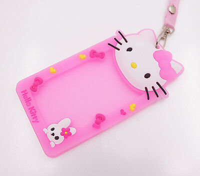 Cute pink Hello Kitty head Lanyards Silicone Credit ID Card Badge Tag Holder