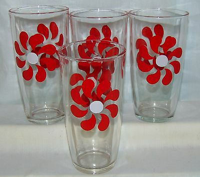 "4 Red* Pinwheels *6"" Sour Cream Glasses*"