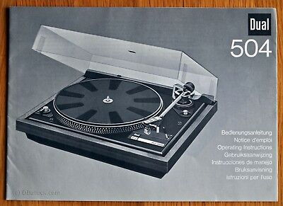 DUAL 504 Turntable Record Deck USER MANUAL Rare