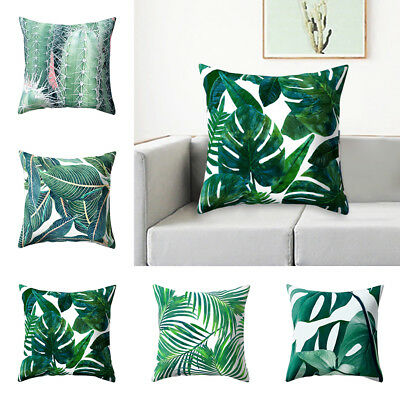 Opuntia Cactus Green Leaves Print Pillow Case Cushion Cover Home Decor Salable