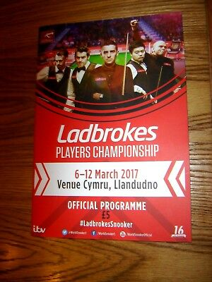 """2017  snooker """"Ladbrokes Players Championship"""" official programme (5-12 March)"""