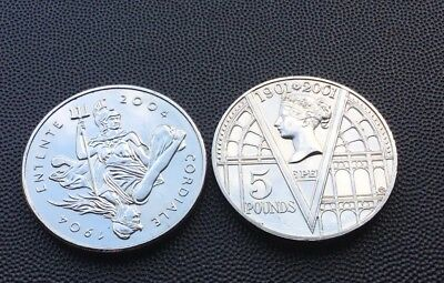2001 & 2004 UK £5 coins.