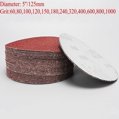 "5"" 125mm Sanding Disc Hook And Loop Sandpaper Sander Pad Grit 60-1000 Metal Wood"