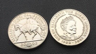 2 x 2002 UK £5 coins.