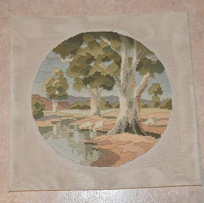 Completed Finished Longstitch Tapestry Canvas Gum Tree River Landscape 29cm