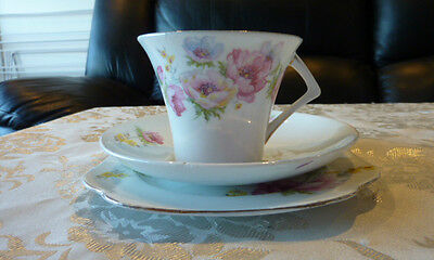 Beautiful Delicate Colclough Bone China Trio Cup Saucer Plate Pink Rose Art Deco