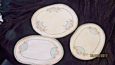 Vintage Hand Embroidered Beige Floral Table Doilies Set of 3