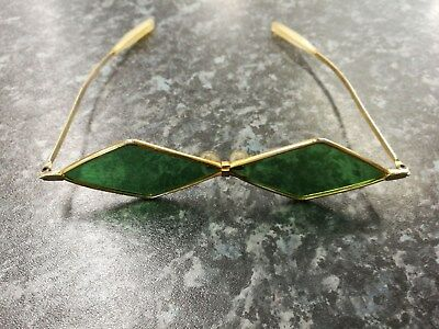Authentic vintage diamond shaped green glasses