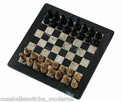 Chessboard with Chess in Marble Black Stone Fossil Marble Chess Set + BOX 40cm