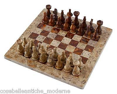 Chessboard with Intarsi Marble Onyx Fossil 40x40cm Onyx Inlays Chessboard Chess