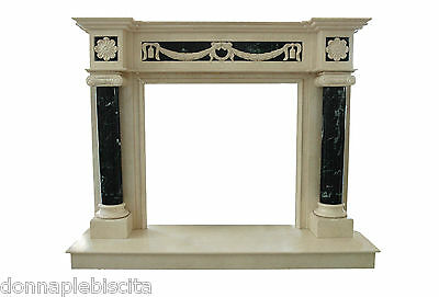 Fireplace Frame Marble Cream Marfile stone and green Guatemala