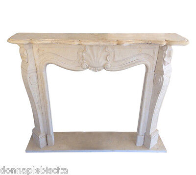 FIREPLACE Marble Yellow Siena FIREPLACE Frame Antiques Style Classic louis XVI