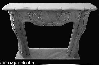 Fireplace White Marble louis XVI Old Handmade Vintage Design