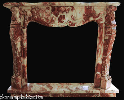 Fireplace Marble Red Classic Classic Design Red Marble Fireplace style LOUIS XVI
