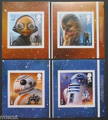 SET of 4 SINGLES from 2017 Star Wars Self Adhesive Retail Books