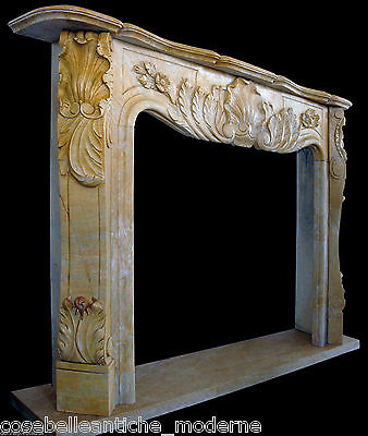 Fireplace Marble Yellow Art & Antiques Style Classic louis XV Marble Fireplace