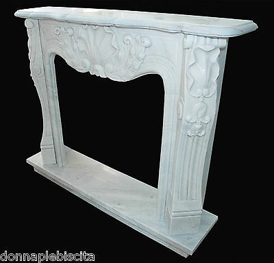 Fireplace White Marble louis XV Handmade Vintage Interior Design