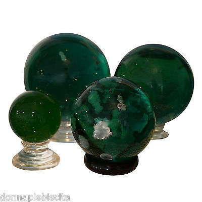 Sphere in Obsidian Green and Inclusions of Calcite Precious Stone D.10,5 cm