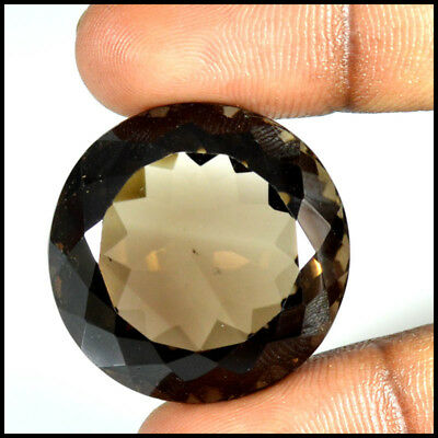 82.00 Cts NATURAL FACETED SMOKY QUARTZ ROUND CUT LOOSE GEMSTONE 28-26