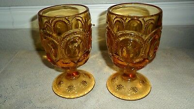 "2 L. G. Wright Amber Glass Moon And Stars 5 7/8"" Water Goblets / Wine Glasses"
