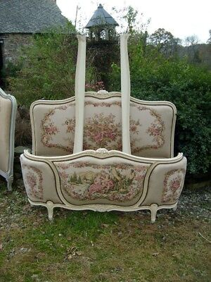 French Louis Xv Upholstered Demi Corbeille Double Bed Very Shabby Chateau!!