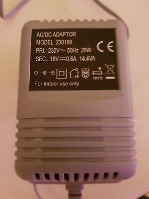 18v AC/DC Adaptor Model 230188 - 230V - 50Hz 26W - 18V Grey UK Plug Power Supply