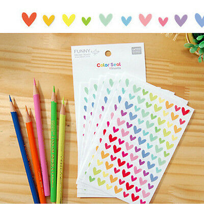 12Sheets Rainbow Heart Sticker Diary Planner Journal Scrapbook Decor Ablums RDUK