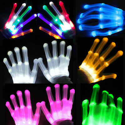 Multi Color LED Flashing Gloves Electro Light Up Christmas Dance Rave Party Fun
