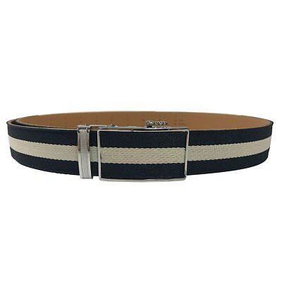 Women's Black Leather White Canvas One Stripe Golf Belt