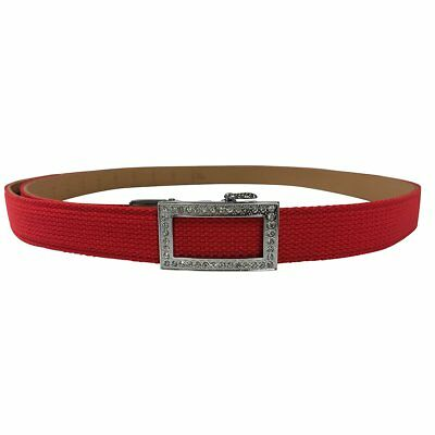 Women's Red Leather Canvas Slim Golf Belt