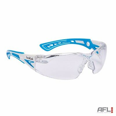 Bolle Rush+ Small Blue Anti-Fog Scratch Safety Spectacles Glasses - Clear Lens