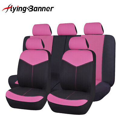 new car Seat Covers set Universal PINK rear seat 40/60 50/50 split lady SUV