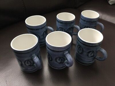 Cinque Ports Pottery Rye set Of  6x Small Coffee Mugs Art Pottery