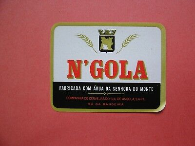 ANGOLA. One  vintage Beer Labels N'GOLA in excellent conditions.