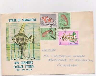 SINGAPORE  1964 PRIVATE COVER FISH 5c 2c n 1c ORCHIDS COVER TO SWISS,24 OCT 1964