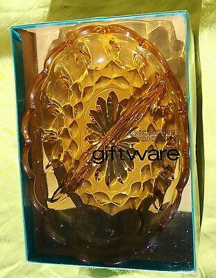 Lovely Retro Anchor Hocking Usa Amber Glass Divided Nut/sweet Dish Mint In Box