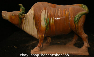 """14"""" Old China Tang San Cai Pottery Porcelain Dynasty Bull Oxen Strong Sculpture"""