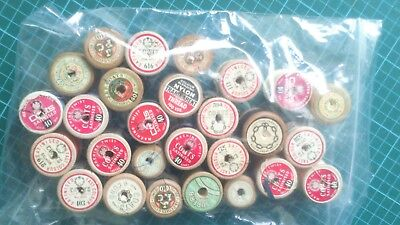 Job Lot Of 27 Vintage Collectable Sewing Wooden Bobbins Threads  Coats