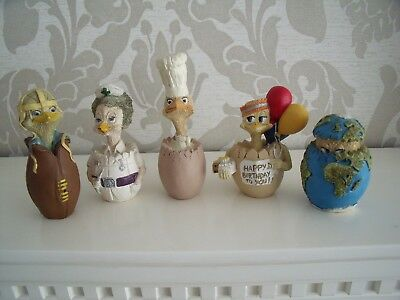 """""""m Bowmer""""----Eggberts---Five Assorted Clay Figures---Very Collectable--"""