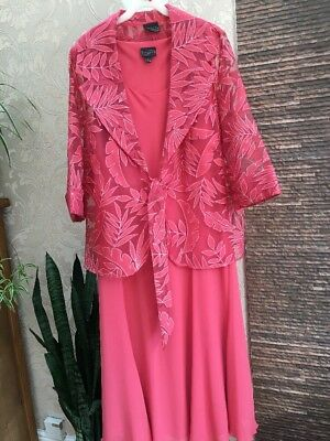 Ladies Coral Dress And Jacket Size 20 By Ann Harvey Wedding Races Etc